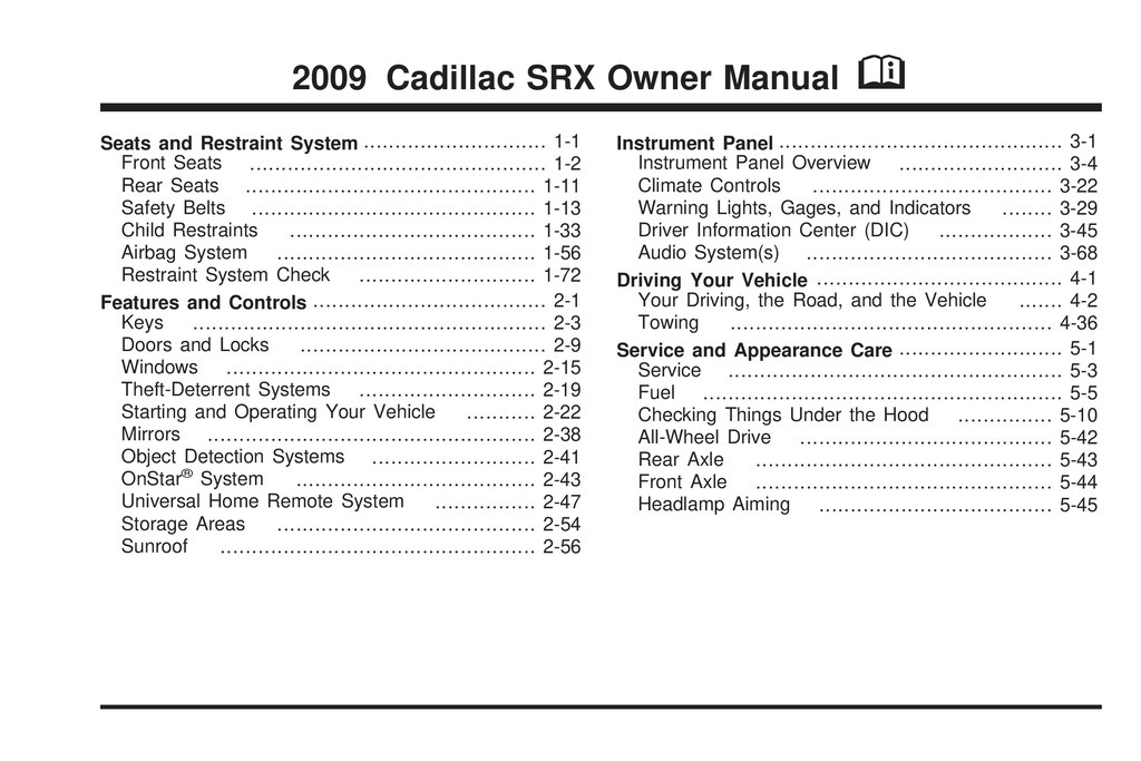 2009 Cadillac Srx owners manual