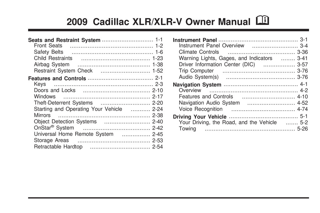 2009 Cadillac Xlr owners manual