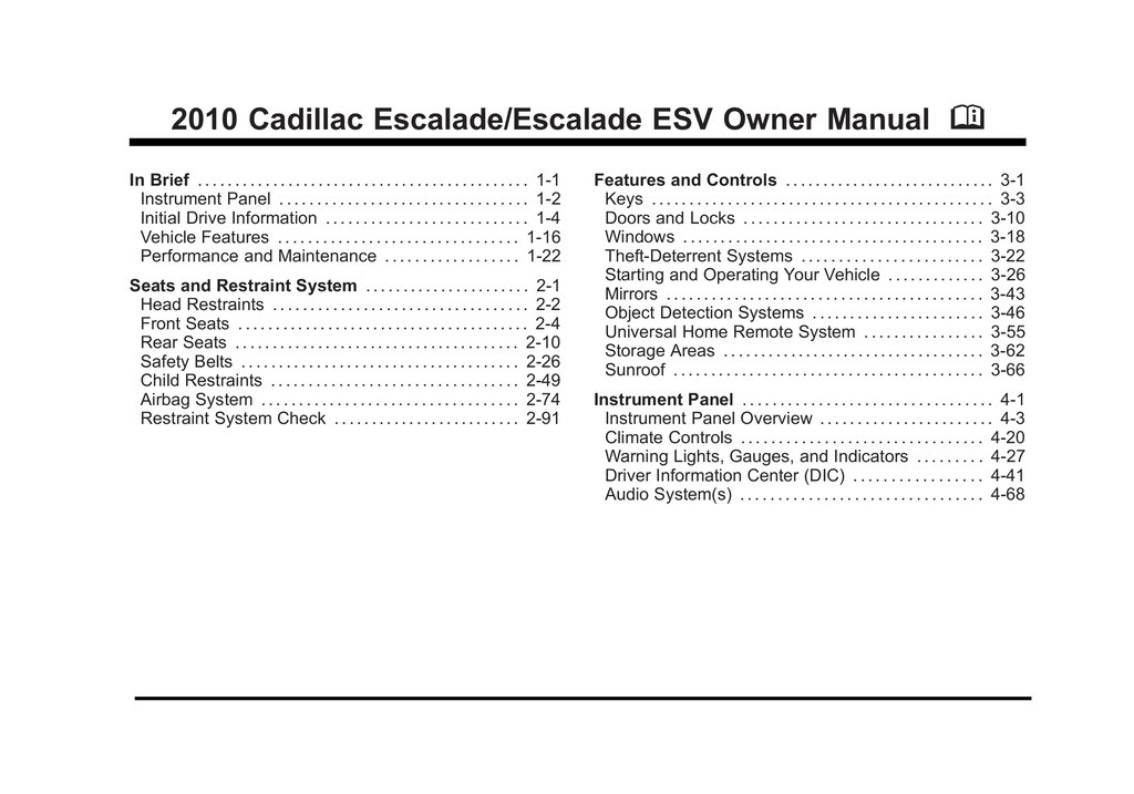 2010 Cadillac Escalade owners manual
