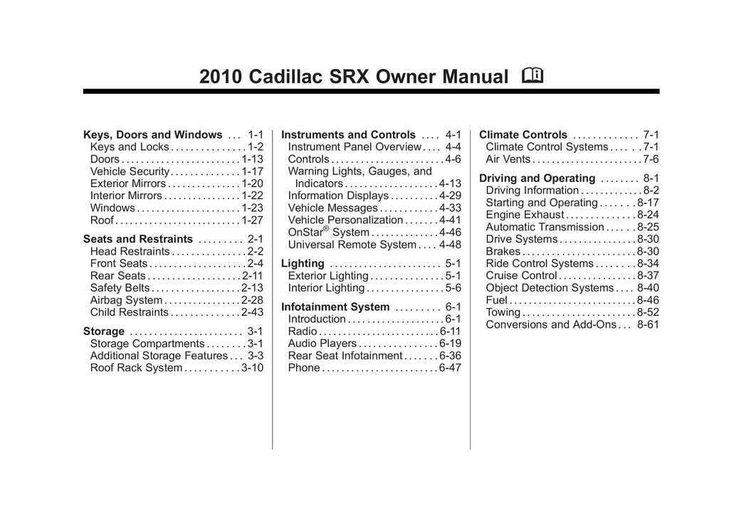 2010 Cadillac Srx owners manual