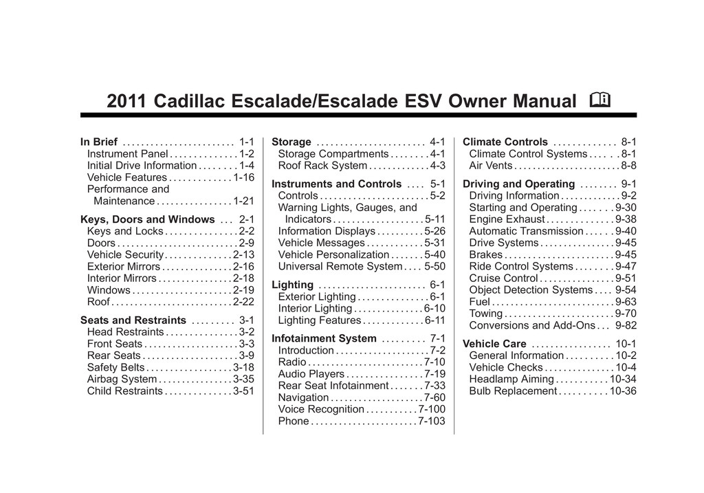2011 Cadillac Escalade Esv owners manual