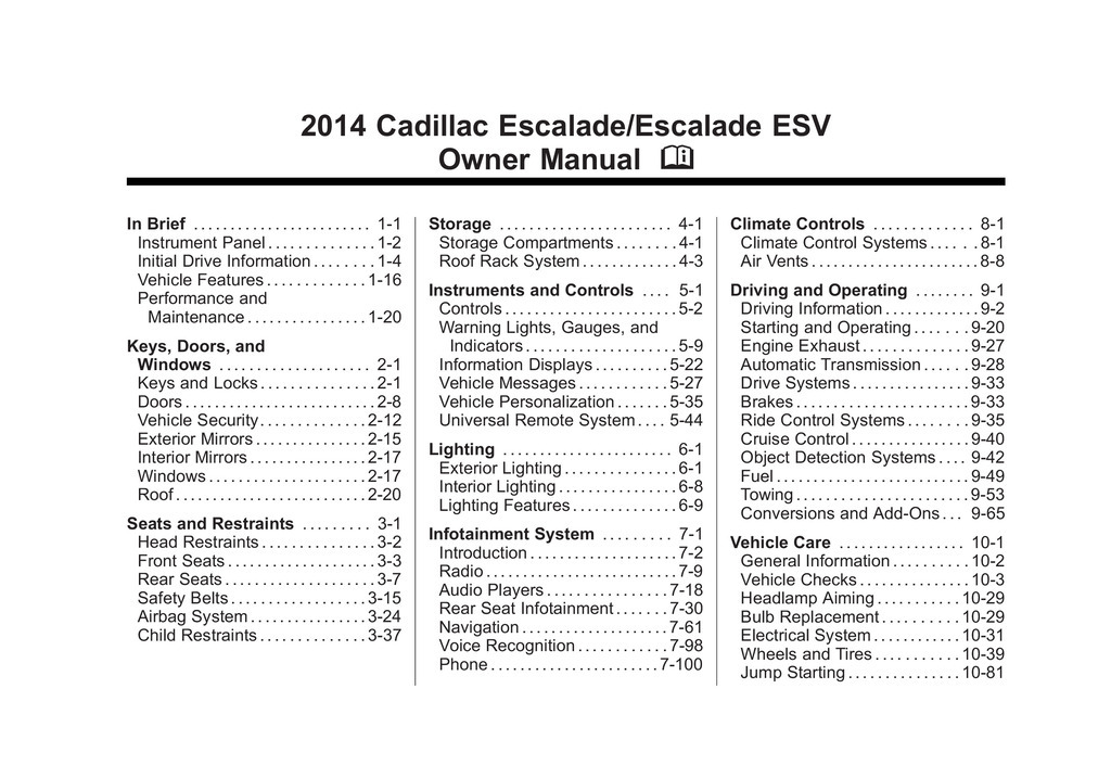 2014 Cadillac Escalade Esv owners manual
