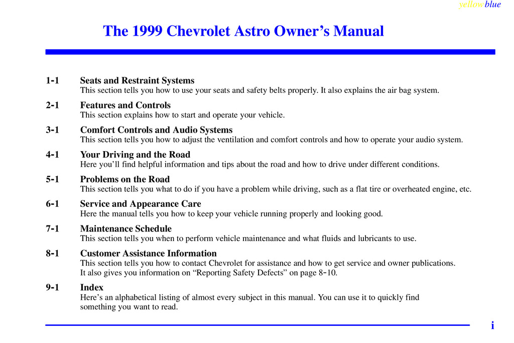 1999 Chevrolet Astro owners manual