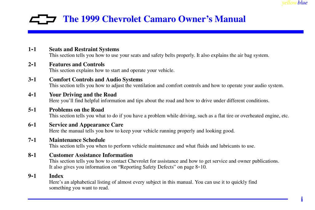 1999 Chevrolet Camaro owners manual