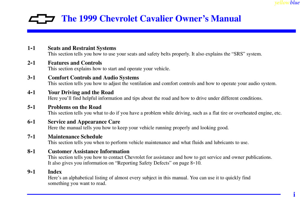 1999 Chevrolet Cavalier owners manual