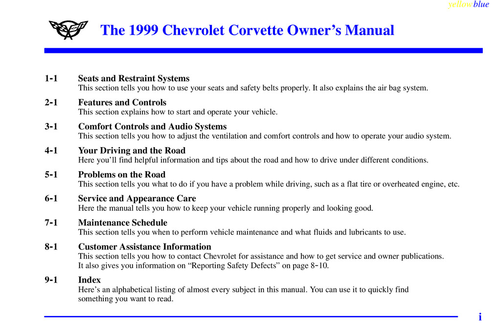 1999 Chevrolet Corvette owners manual