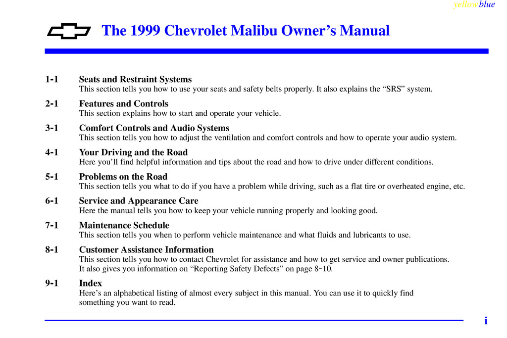 1999 Chevrolet Malibu owners manual