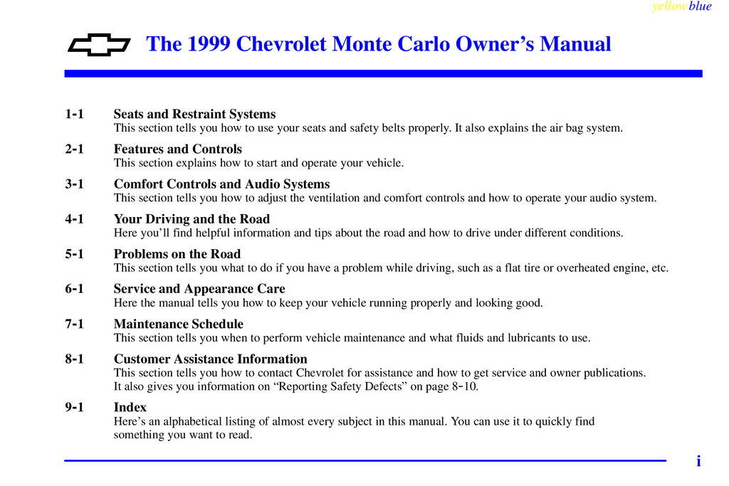 1999 Chevrolet Monte Carlo owners manual