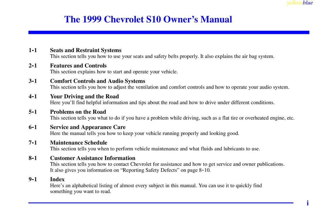 1999 Chevrolet S10 owners manual