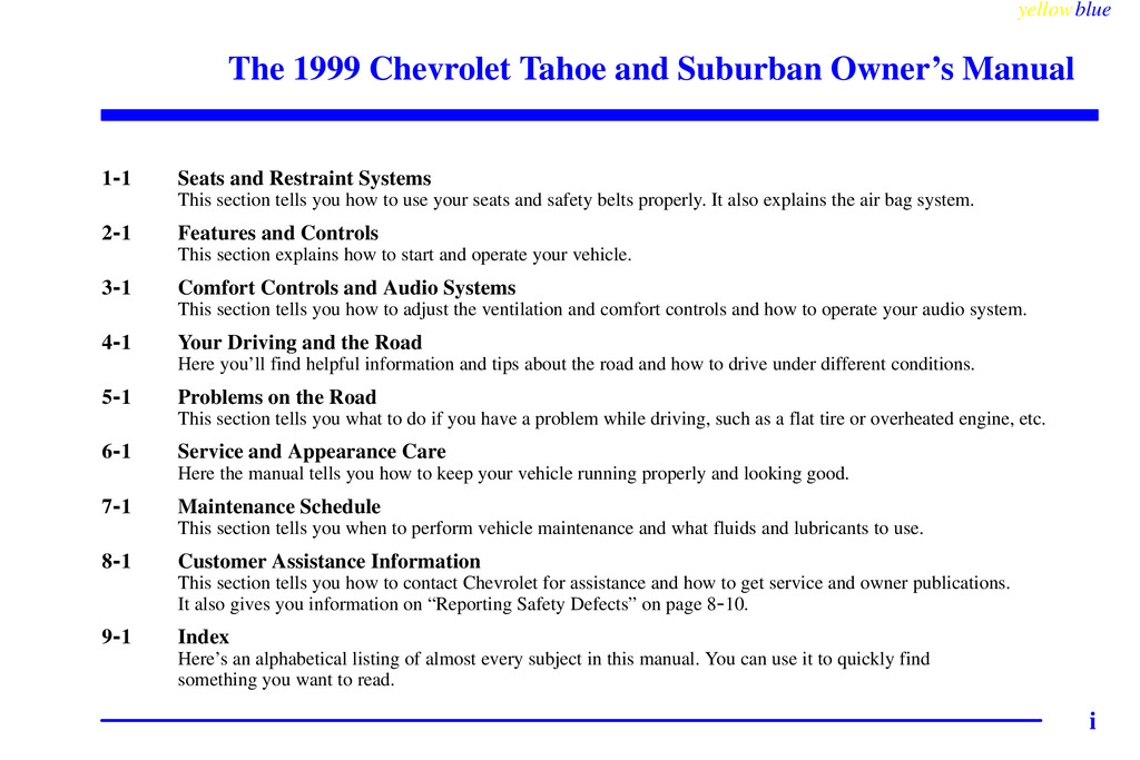 1999 Chevrolet Suburban owners manual