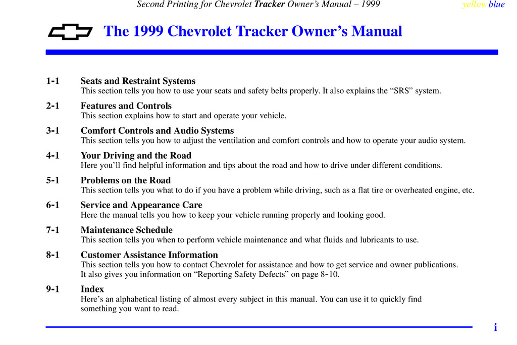 1999 Chevrolet Tracker owners manual