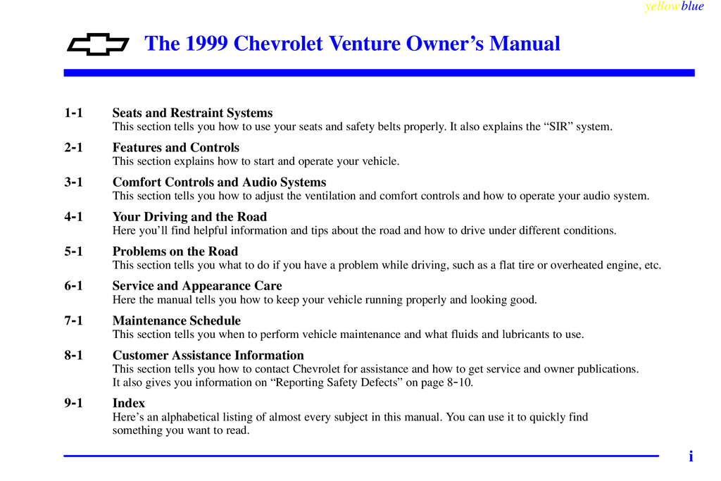 1999 Chevrolet Venture owners manual