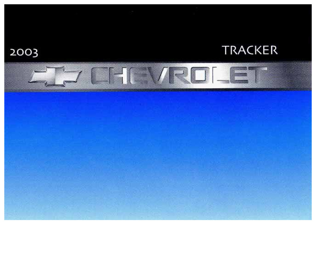 2003 Chevrolet Tracker owners manual