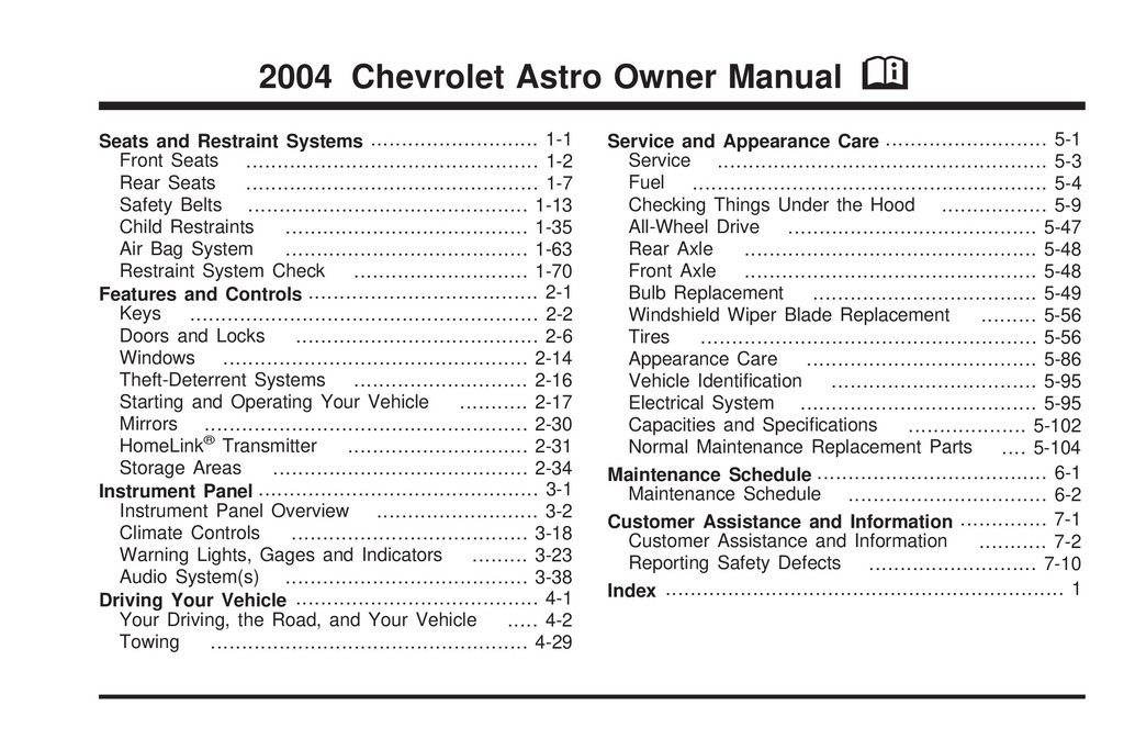 2004 Chevrolet Astro owners manual