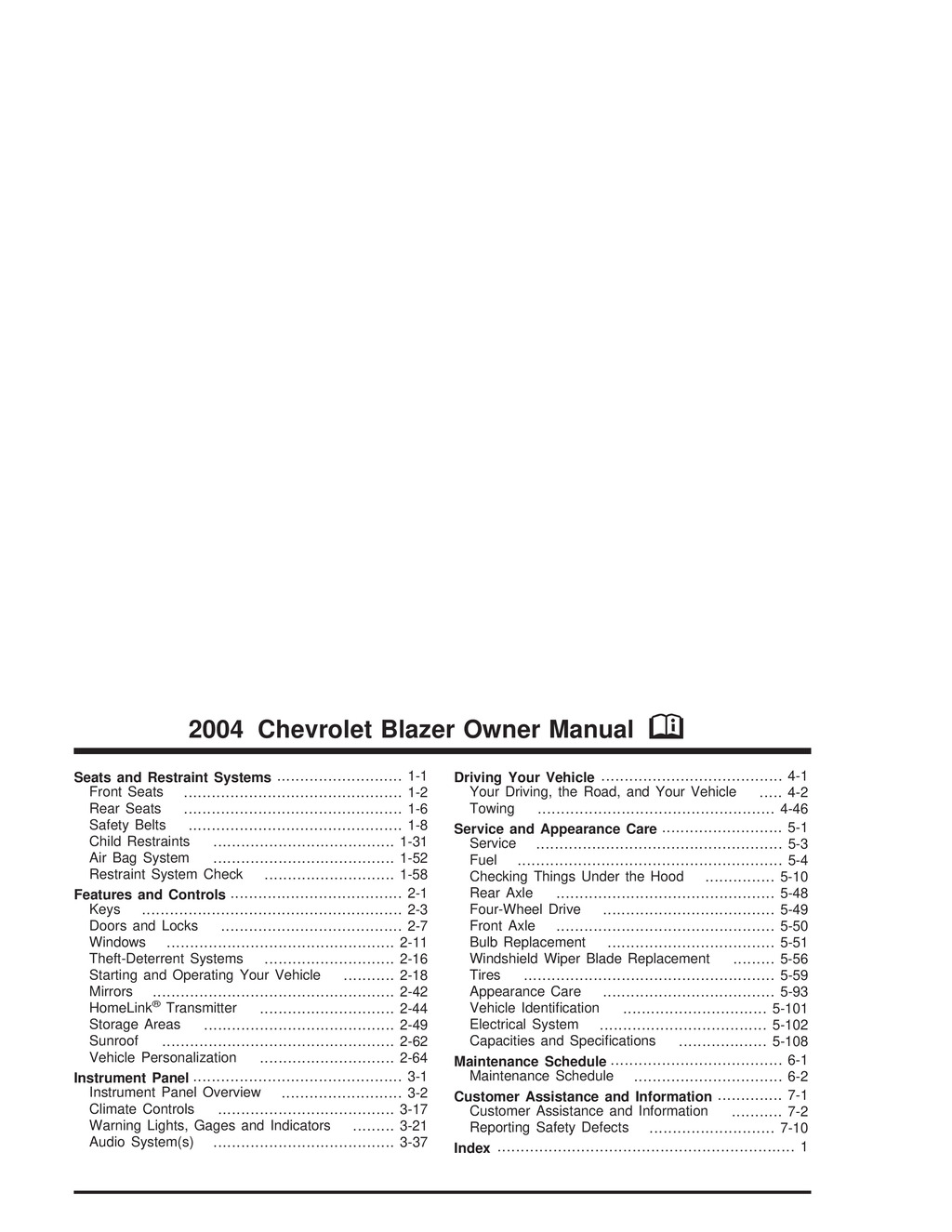 2004 Chevrolet Blazer owners manual
