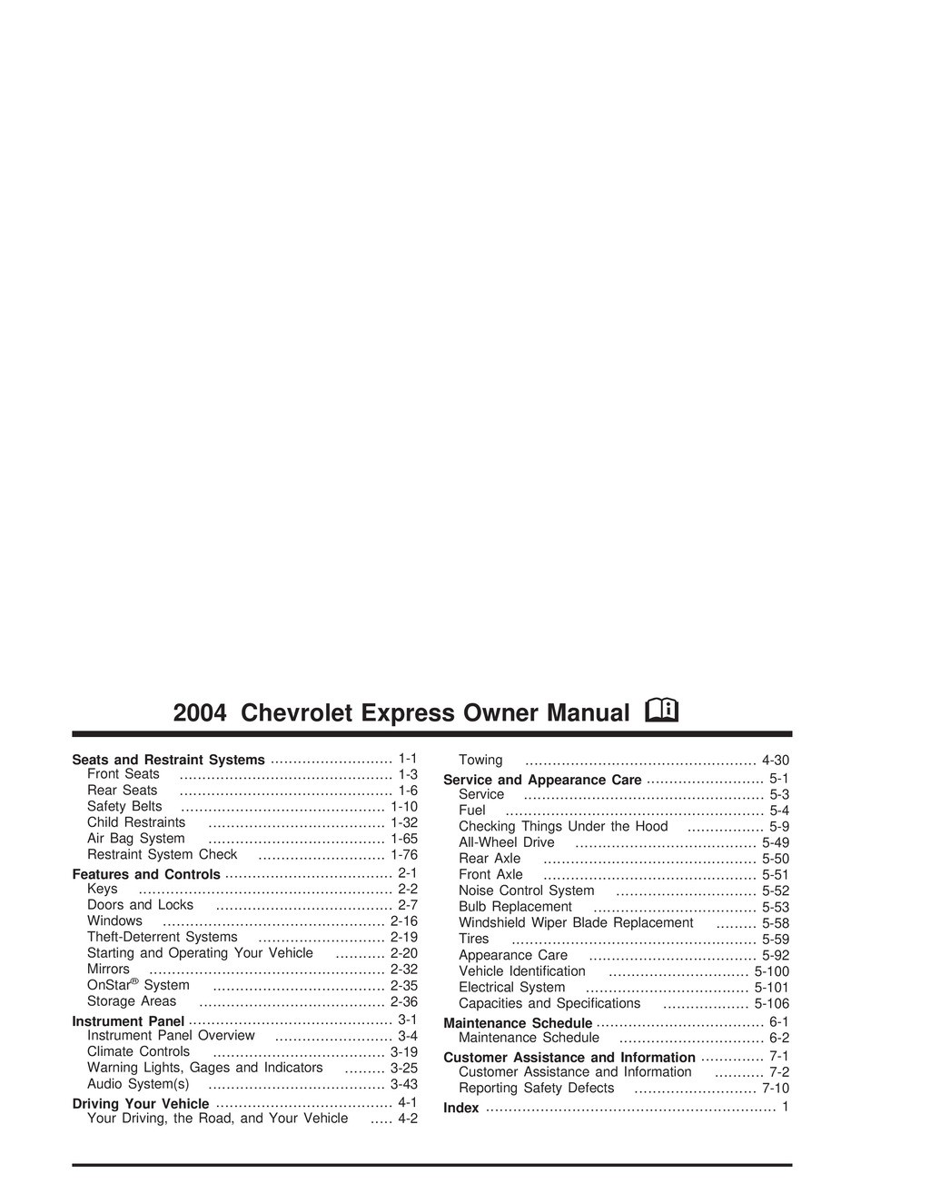 2004 Chevrolet Express owners manual