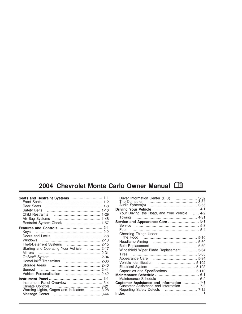 2004 Chevrolet Monte Carlo owners manual