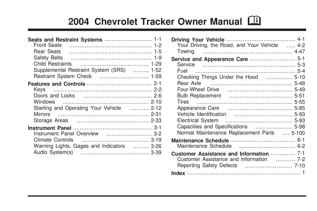 2004 Chevrolet Tracker owners manual