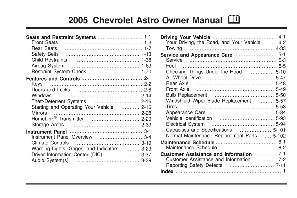 2005 Chevrolet Astro owners manual