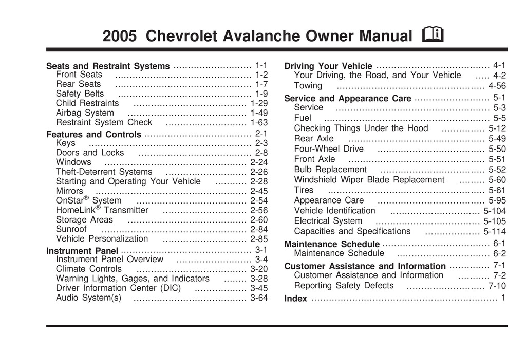 2005 Chevrolet Avalanche owners manual