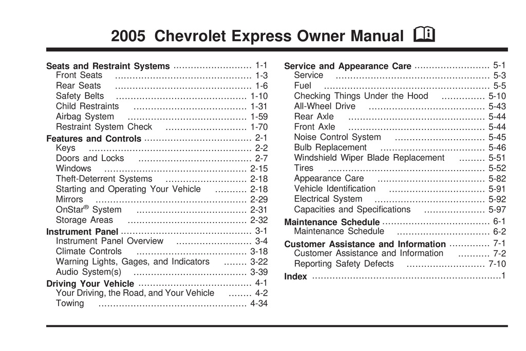 2005 Chevrolet Express owners manual
