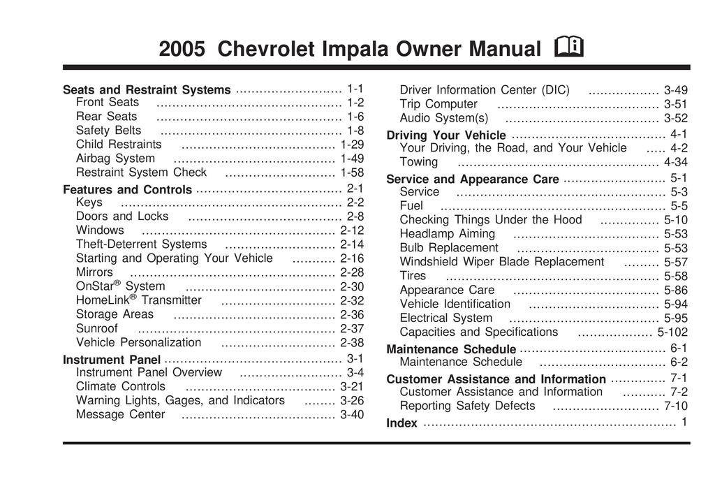 2005 Chevrolet Impala owners manual