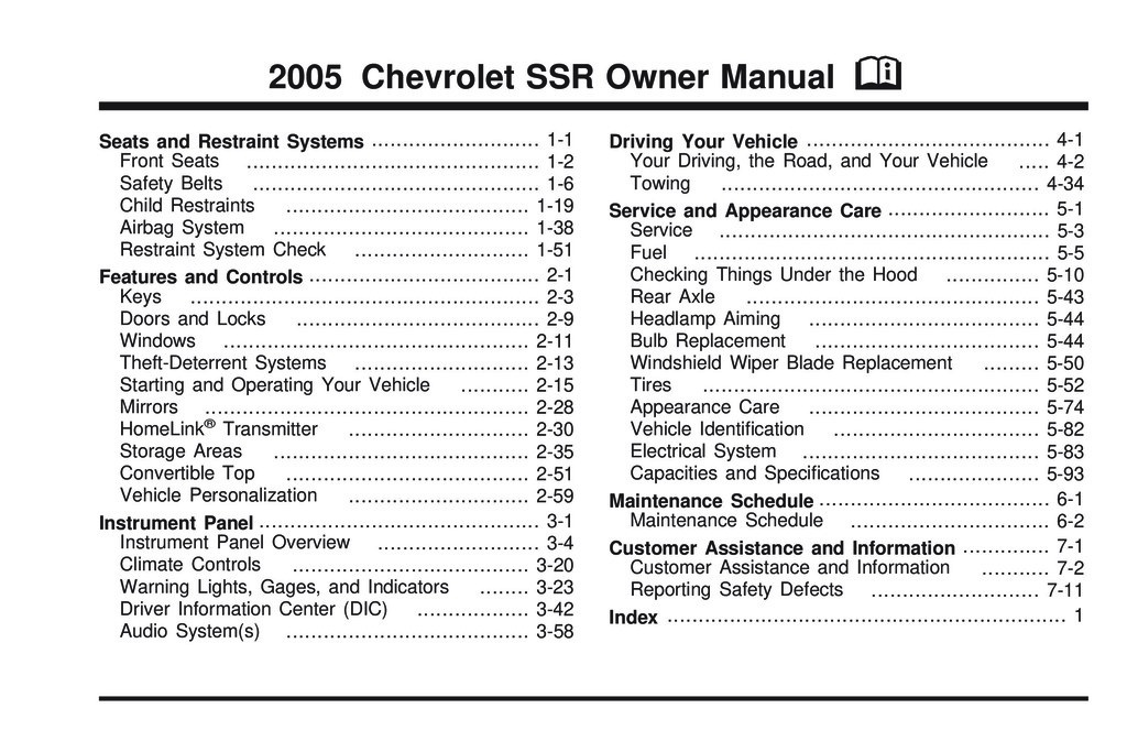 2005 Chevrolet Ssr owners manual
