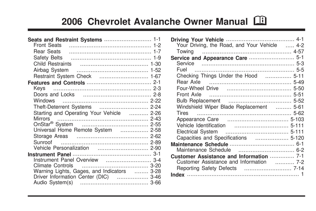 2006 Chevrolet Avalanche owners manual