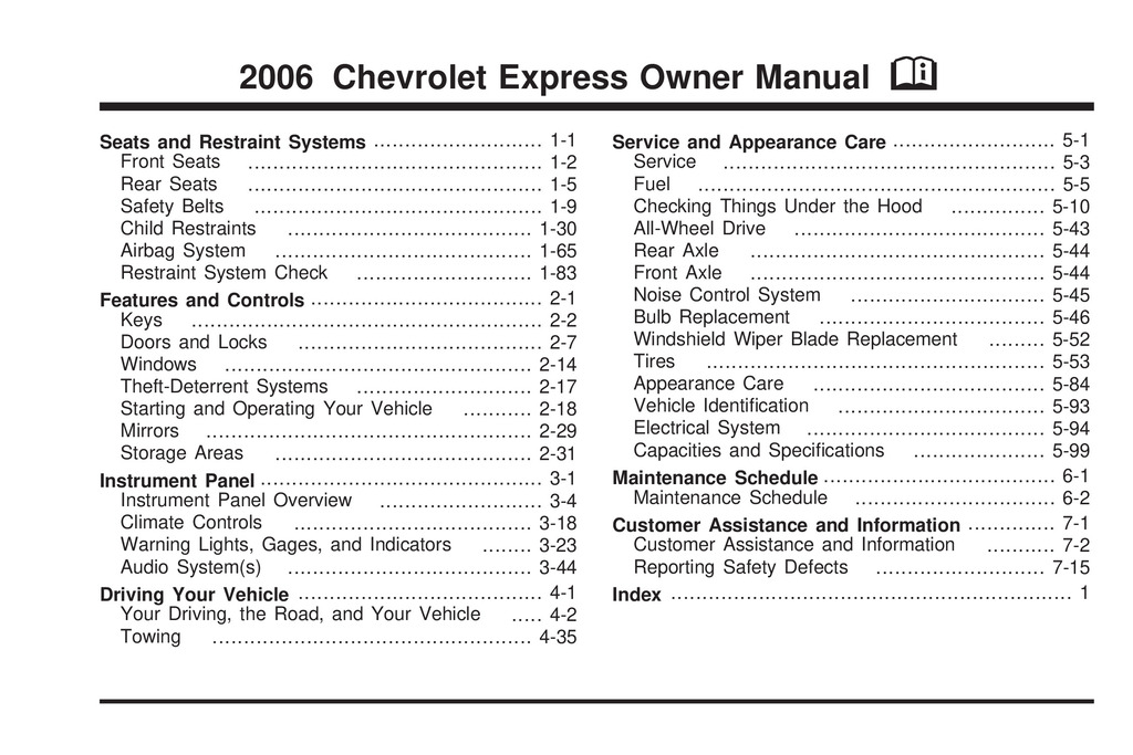 2006 Chevrolet Express owners manual