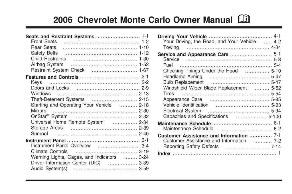 2006 Chevrolet Monte Carlo owners manual