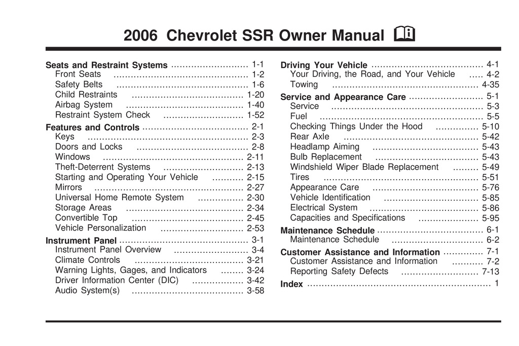 2006 Chevrolet Ssr owners manual
