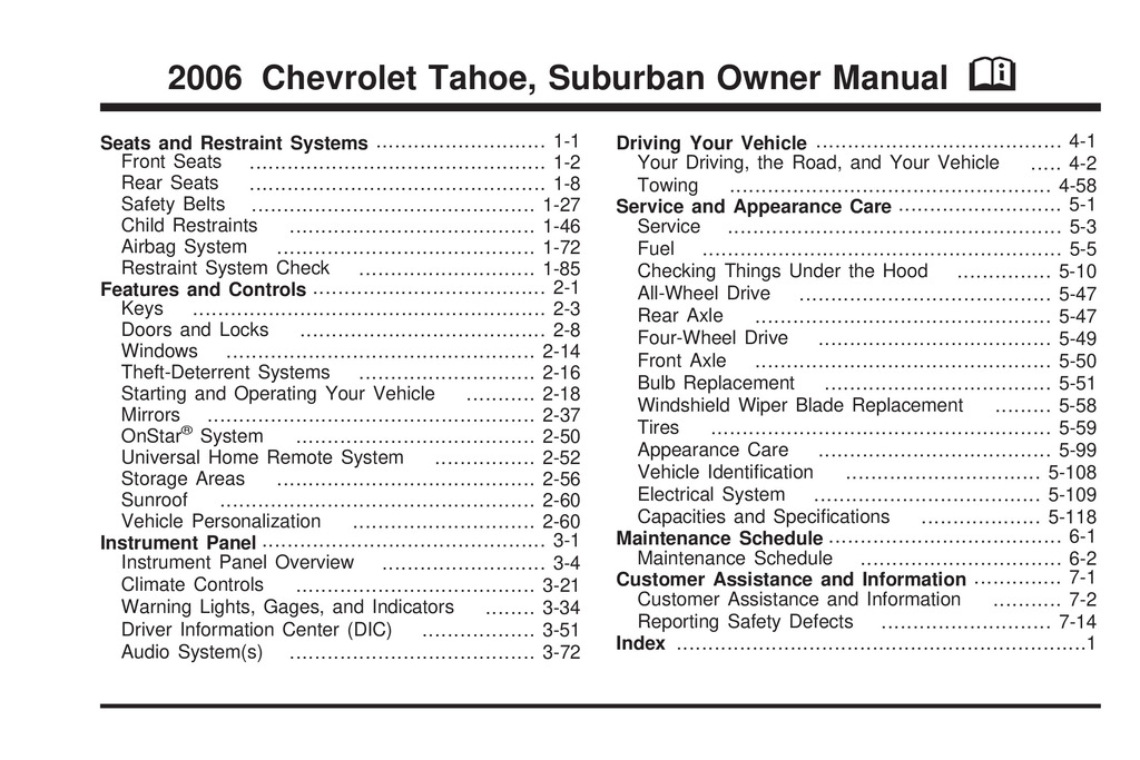 2006 Chevrolet Tahoe owners manual
