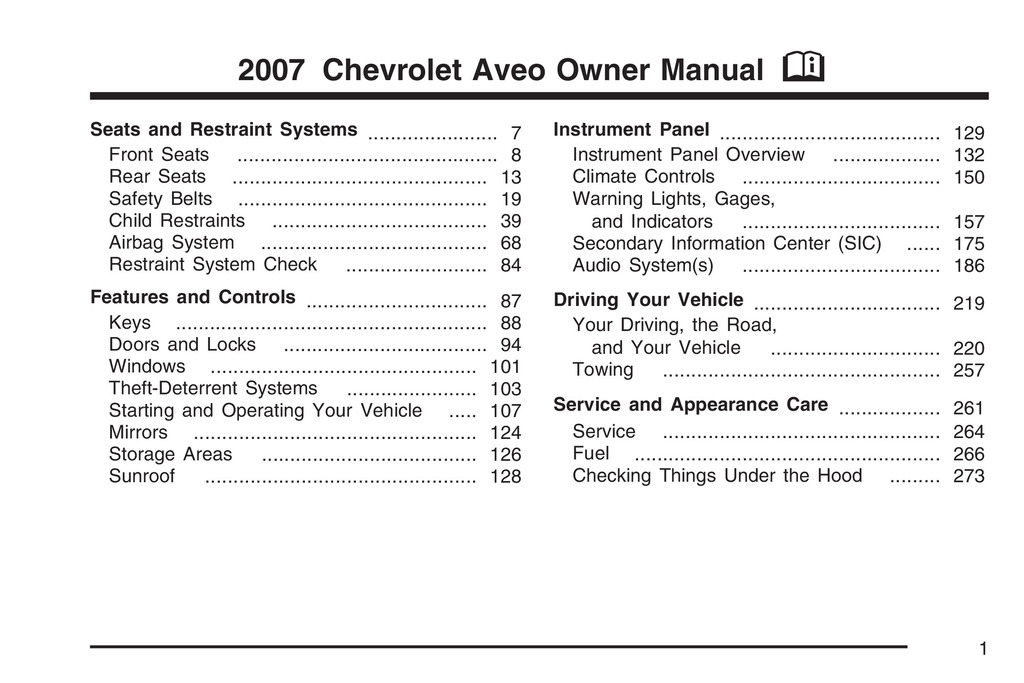 2007 Chevrolet Aveo owners manual