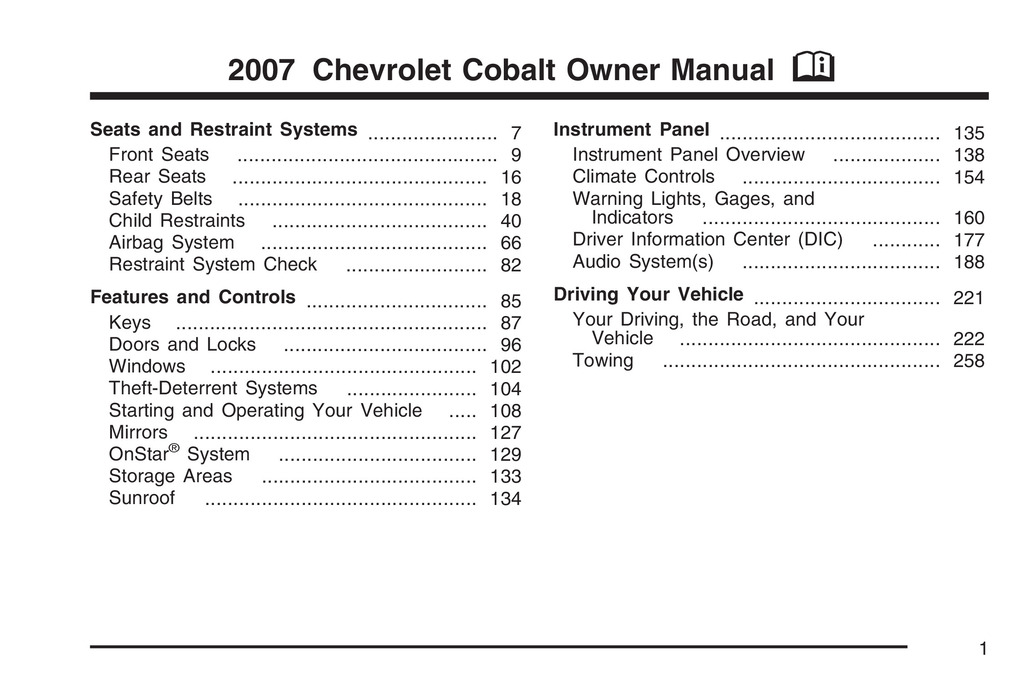 2007 Chevrolet Cobalt owners manual