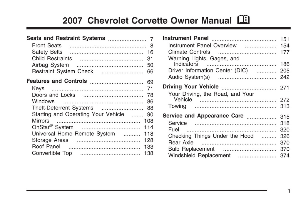 2007 Chevrolet Corvette owners manual