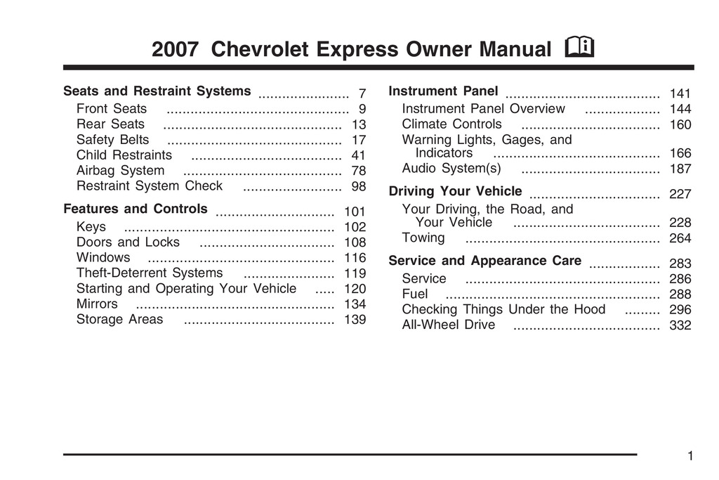 2007 Chevrolet Express owners manual