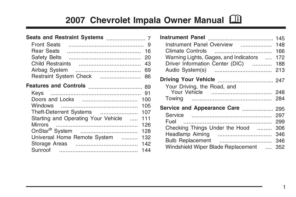 2007 Chevrolet Impala owners manual