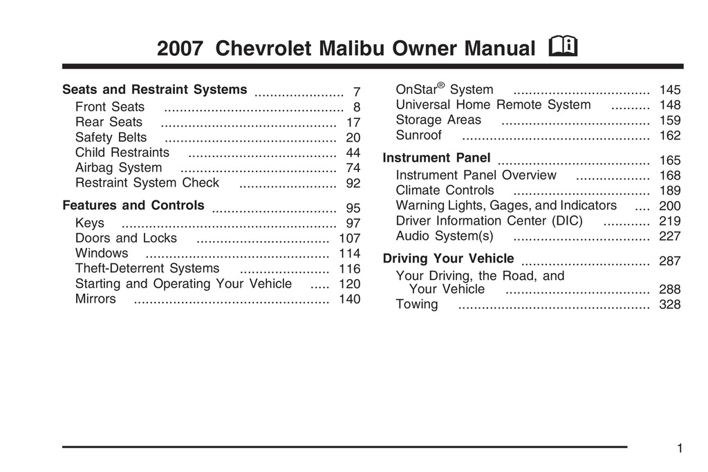 2007 Chevrolet Malibu owners manual