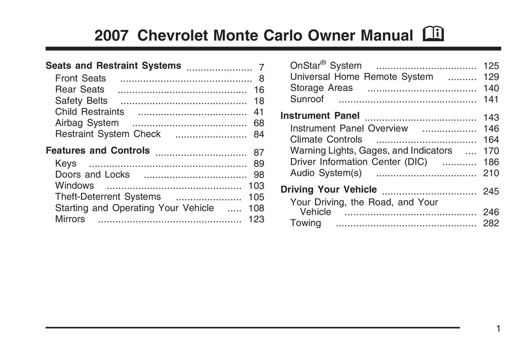 2007 Chevrolet Monte Carlo owners manual