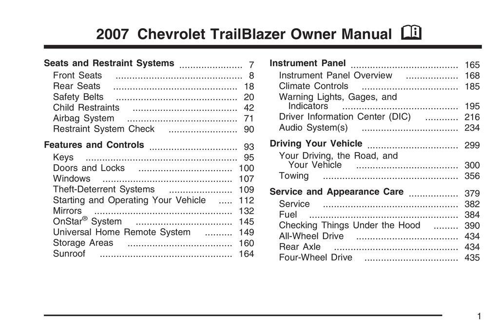 2007 Chevrolet Trailblazer owners manual