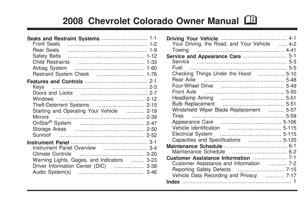 2008 Chevrolet Colorado owners manual