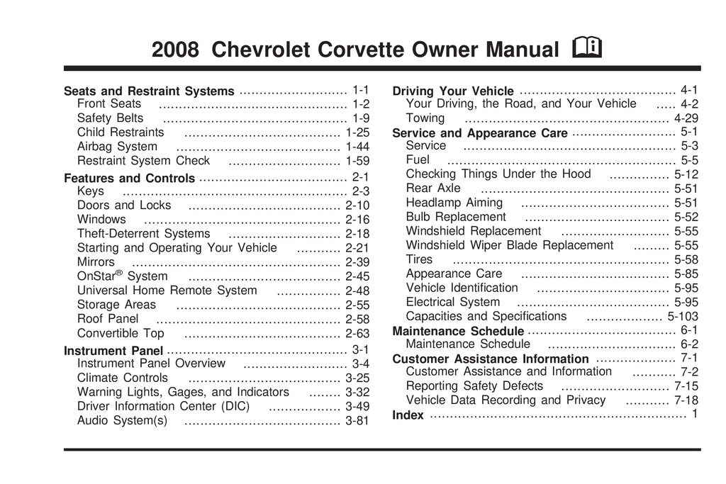 2008 Chevrolet Corvette owners manual