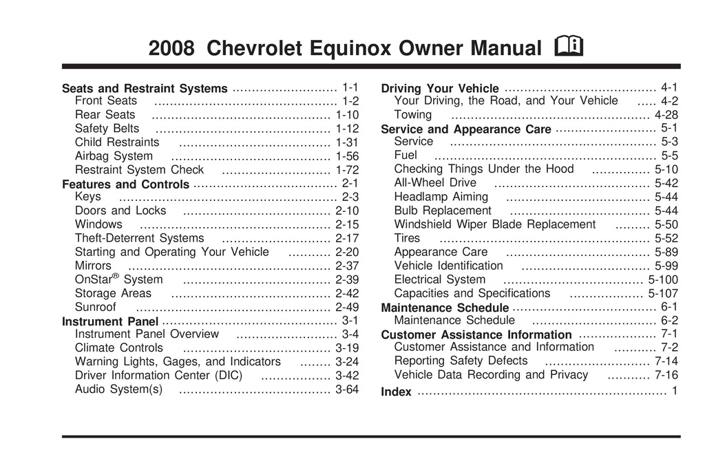 2008 Chevrolet Equinox owners manual