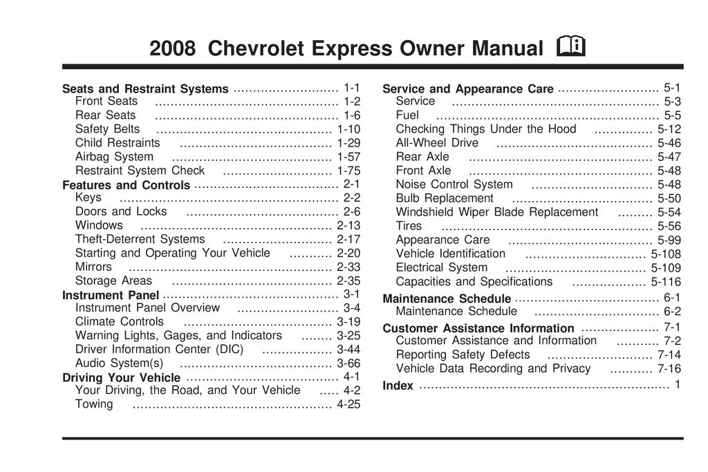 2008 Chevrolet Express owners manual