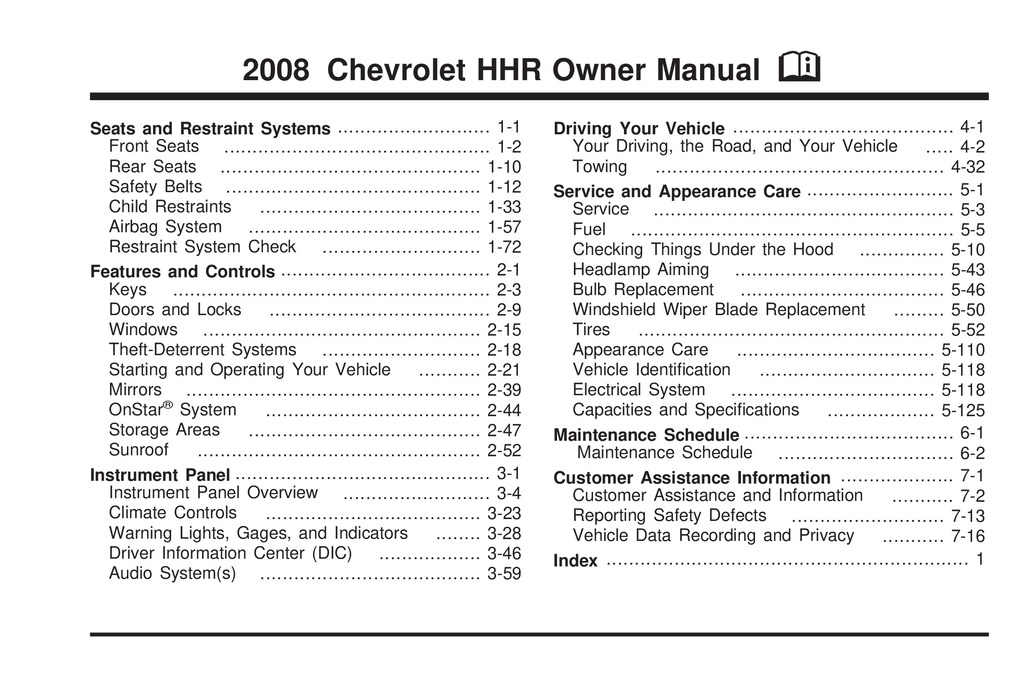 2008 Chevrolet Hhr owners manual
