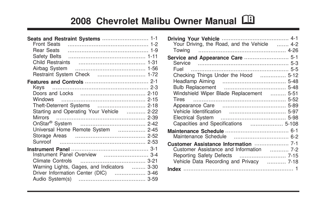 2008 Chevrolet Malibu owners manual