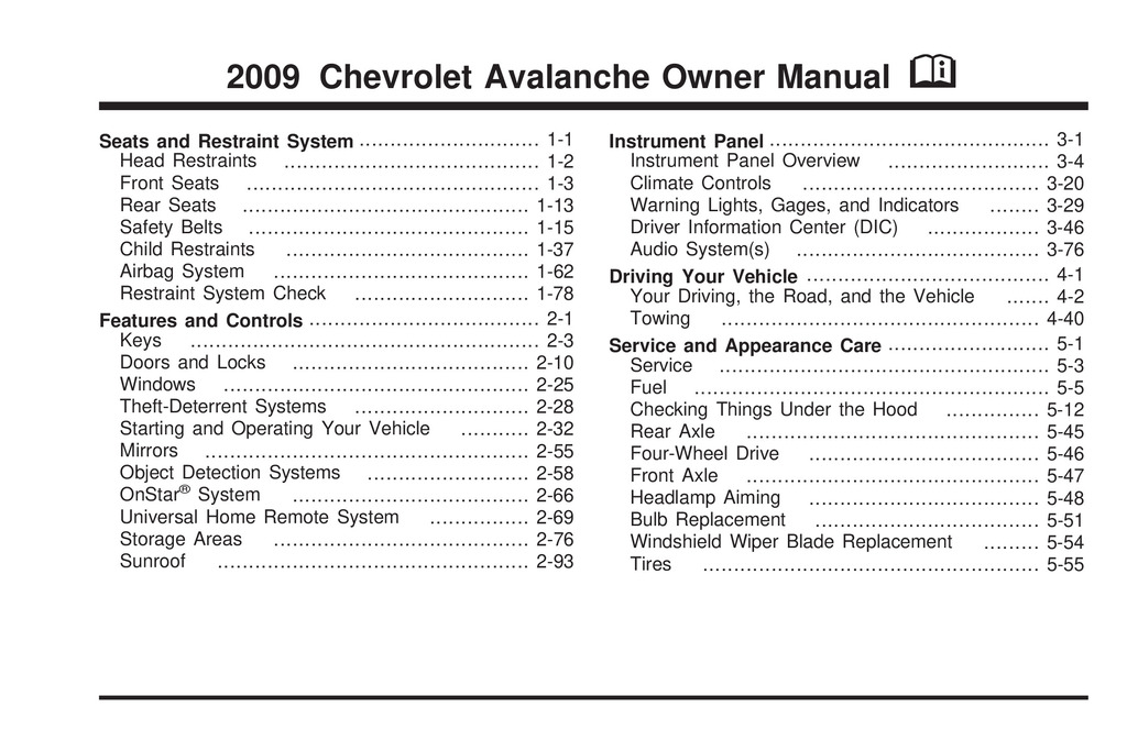 2009 Chevrolet Avalanche owners manual
