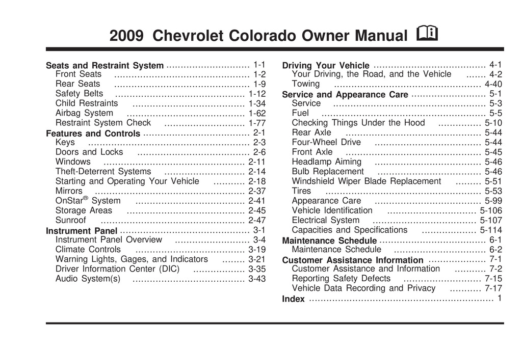 2009 Chevrolet Colorado owners manual