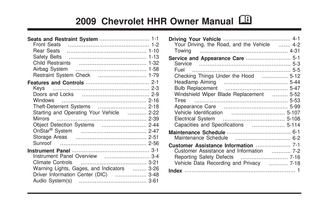 2009 Chevrolet Hhr owners manual