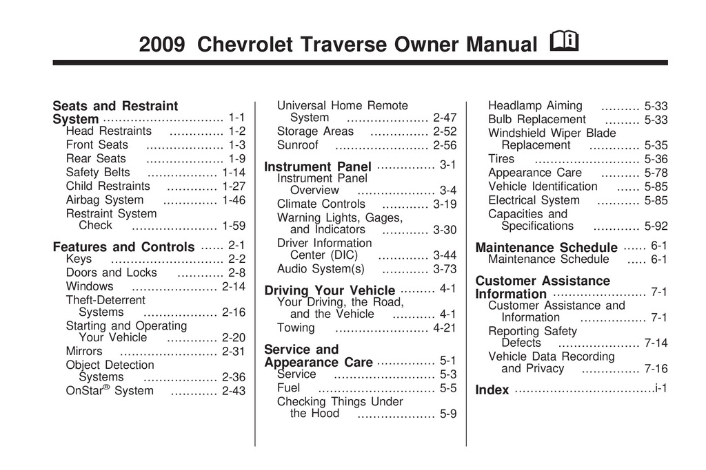 2009 Chevrolet Traverse owners manual